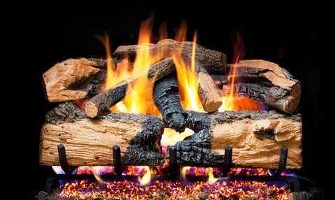 Charred Evergreen Split Oak Logs with G52 Radiant Fyre Burner