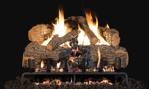 Charred Angel Oak Logs with P45 Dual Burner Flame Pan System