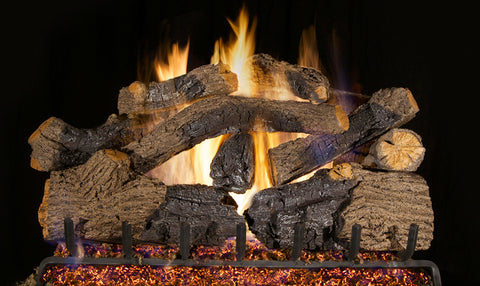 Charred Grizzly Oak Logs with P45 Dual Burner Flame Pan System