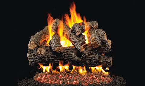 Royal English Oak Designer Logs with P45 Dual Burner Flame Pan System