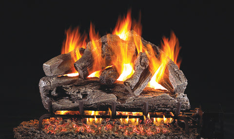 Rugged Oak Logs with P45 Dual Burner Flame pan system