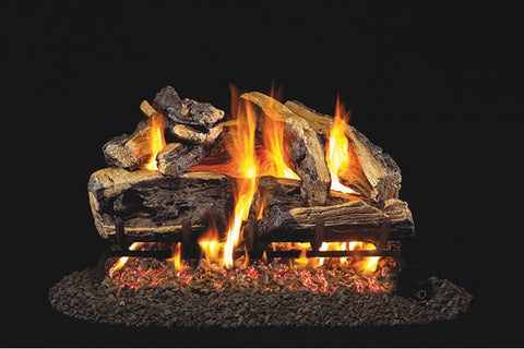 Rugged Split Oak Logs with P45 Dual Burner Flame Pan System