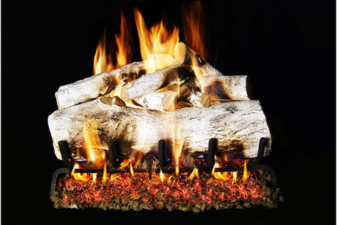 Mountain Birch Logs with P45 Dual Burner Flame Pan System