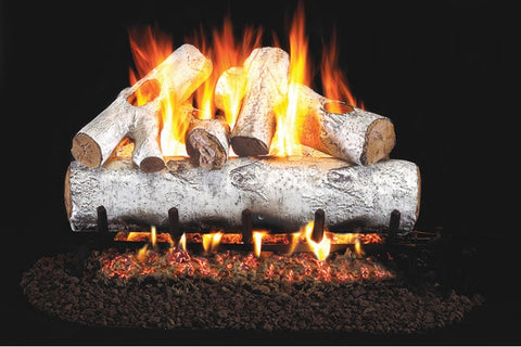 White Birch Logs with P45 Dual Burner Flame Pan System