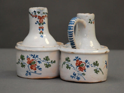 French Faience Oil and Vinegar - Helen Storey Antiques