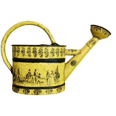 Large Napoleon III Yellow Tole Watering Can - Helen Storey Antiques