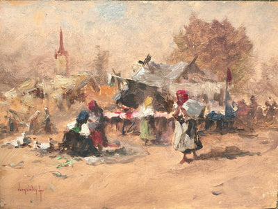 Antal Neogrady Market Scene Oil on Board - Helen Storey Antiques