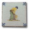 Delft Tile - Rare Elegant Woman Farm Worker - Dutch 18th Century - Helen Storey Antiques