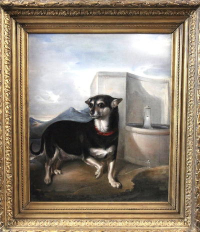 English Terrier in a Classical Setting, c. 1800, Oil on Canvas, Attrib. James Ward - Helen Storey Antiques