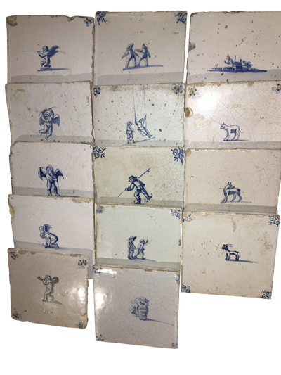Blue and White Dutch Delft Tiles 18th Century: Cherubs, Animals, People and a house - Helen Storey Antiques