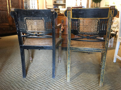 Rare Painted Regency Period Anglo-Indian Armchairs c. 1820 - Helen Storey Antiques