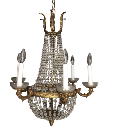 Louis XVI style French Crystal and Bronze Chandelier - Helen Storey Antiques