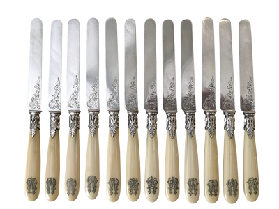 French Sterling Silver and Bone Dessert Knives,  Minverve Premier Titre, 12 pcs - Helen Storey Antiques