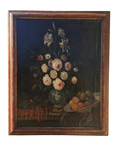 Early Large Floral Still Life in Outstanding Period Frame - 19th Century - Helen Storey Antiques