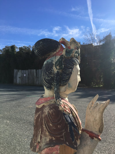 Large Carved Wood and Polychrome Statue of Guanyin ~ Guan Yin - Helen Storey Antiques