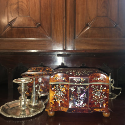 Georgian Tea Caddy with Mother of Pearl Inlay - Helen Storey Antiques