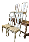 Set of Four White Distressed Italian Side Chairs Late 19th Century - Helen Storey Antiques