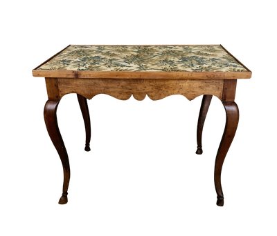 French Provincial Louis XV period side table with textile top c. 1770 - Helen Storey Antiques