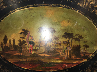 19th Century French Painted Tole Tray with Stand - Colonial Islands - Helen Storey Antiques