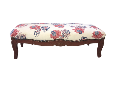 19th Century Louis XV-Style Carved and Painted Footstool - Helen Storey Antiques