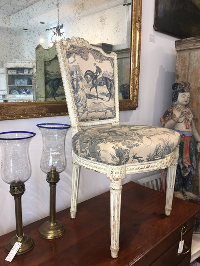 White painted French Side Chair, Equestrian Toile, 19th Century - Helen Storey Antiques