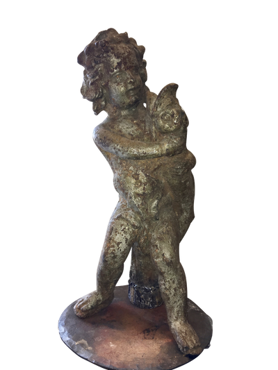 Cast Iron Putti with Dolphin Fountain - Sculpture - Helen Storey Antiques