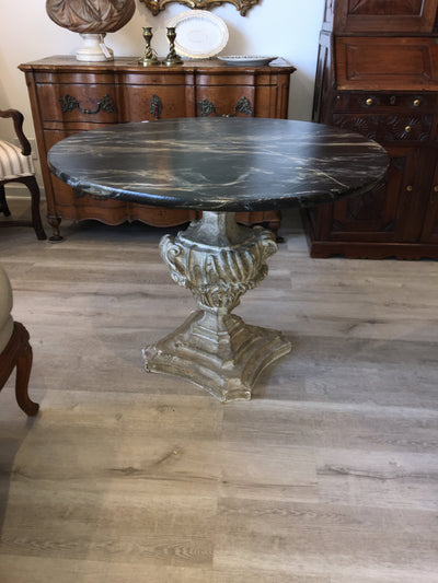 Italian Round Table, 19th Century with Carved Architectural Base, Painted Faux Marble Top - Helen Storey Antiques