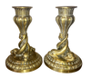 19th Century Brass Dolphin Candlesticks - Helen Storey Antiques