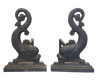 19th Century Cast Iron Dolphin Andirons - Helen Storey Antiques
