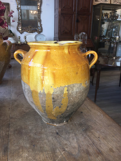French Provincial Yellow Confit Pot - Helen Storey Antiques