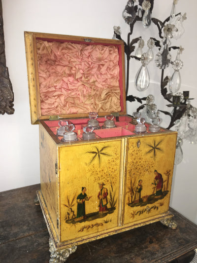Regency Yellow Chinoiserie Vanity Cabinet - Helen Storey Antiques