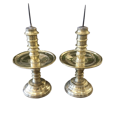 18th Century Dutch Brass Pricket Candlesticks - Helen Storey Antiques