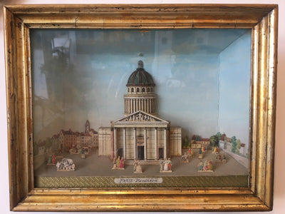French Dioramas - Hand Drawn and Watercolored - 18th-19th C. - Helen Storey Antiques