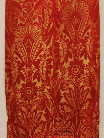 French Silk Brocade Panel, Stunning Red and Gold, 18th Century - Helen Storey Antiques