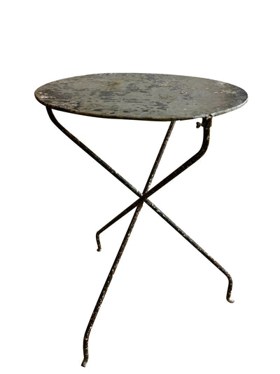 French folding Bistro Table with a Zinc Top - Helen Storey Antiques