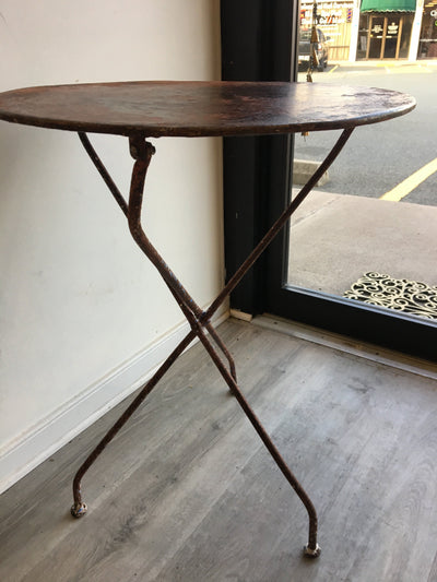 French Folding Bistro Table with Old Red Paint - Helen Storey Antiques