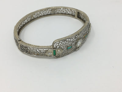 Filigree 14KWhite Gold and Diamond Art Deco Bracelet - Helen Storey Antiques