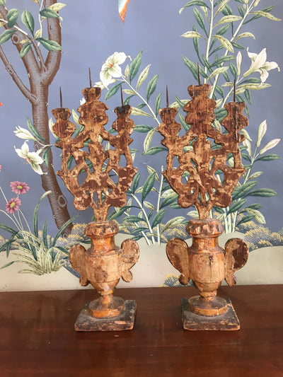 Pair of Carved Gilt Pricket Candelabra, 18th Century - Helen Storey Antiques