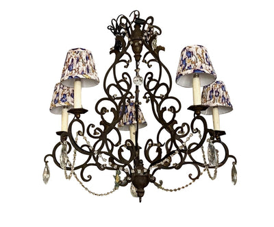 Elegant Italian Iron, Wood and Crystal Chandelier, 19th Century - Helen Storey Antiques