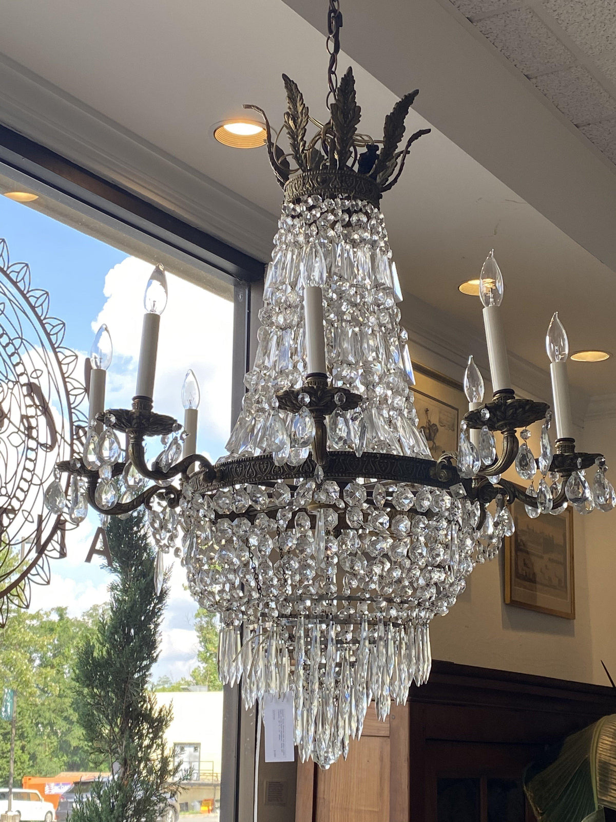 Chandelier - Empire Style Ormolu & Cut Glass Chandelier