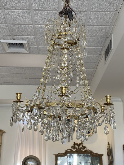 Chandelier - Stunning Fire Gilt Brass And Crystal Swedish Chandelier