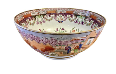 Circa 1770 Chinese Export Mandarin Palette Porcelain Punch Bowl - Helen Storey Antiques