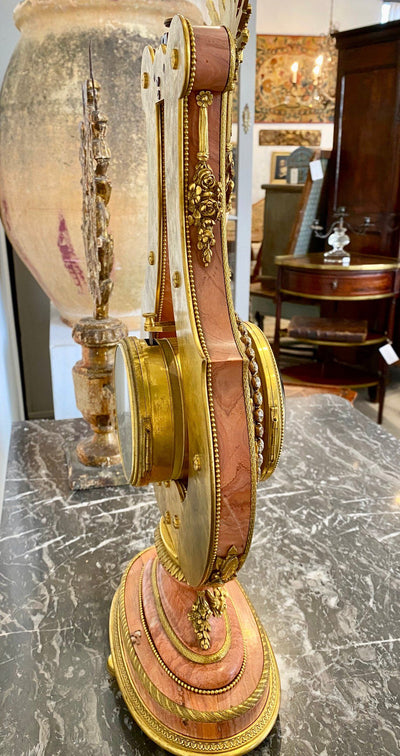 Pink Marble and Ormolu 19th Century French Lyre-Form Clock - Helen Storey Antiques