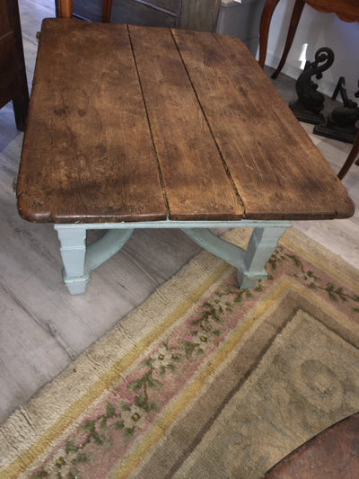 Pine and Light Blue Coffee Table, 18th Century Repurposed - Helen Storey Antiques