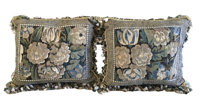 Pair of Aubusson Tapestry and Velvet Cushions - Helen Storey Antiques
