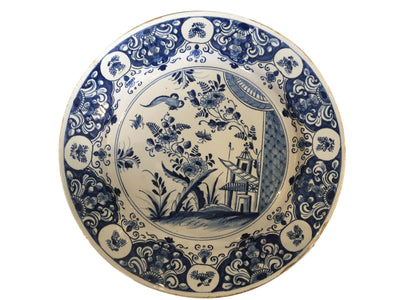 18th Century Dutch Delft Blue Chinoiserie Charger - Helen Storey Antiques