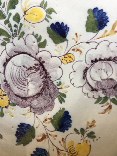 Dutch Delft Floral Polychrome Charger, 18th C. - Helen Storey Antiques