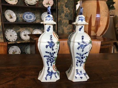 Pair of 18th Century Delft Lidded Jars, Chinoiserie Décor - Helen Storey Antiques