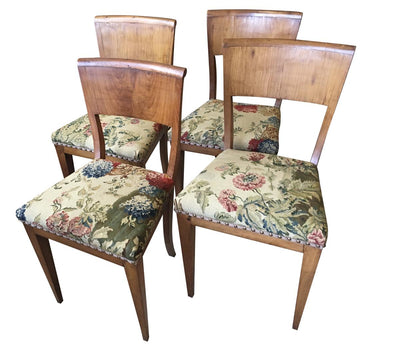 Set of Four Biedermeier Birch Dining Side Chairs with Tapestry Upholstery - Helen Storey Antiques