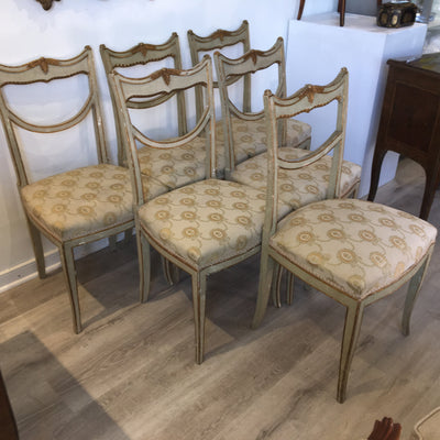 Set of Six 18th Century Italian Painted, Carved, and Gilded Dining Chairs - Helen Storey Antiques
